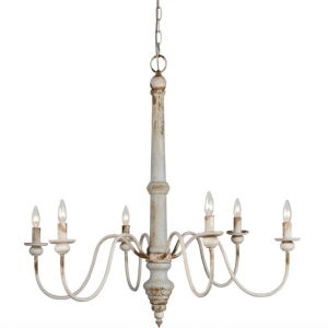 Aged Look Chandelier Fixture 6 Bulb Minimalistic Candelabra Design Light