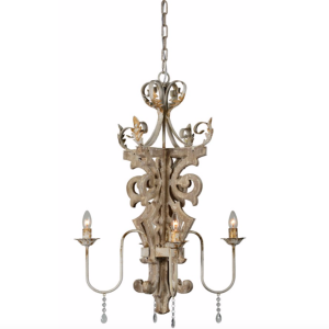 Woodland Chandelier Fixture w Royal Design 4 Bulb Weathered Finish Light