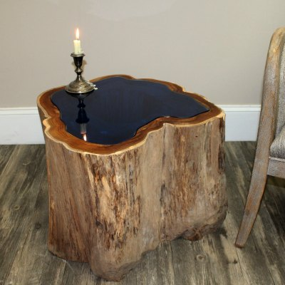 Resin Wood Tables With Blue Lucite