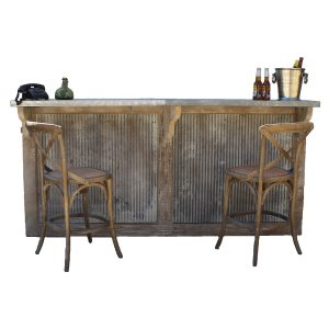 Country Home Bar With Galvanized Stamped Tin Panels Reclaimed Wood Vintage Style