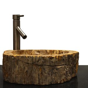 Basin Vessel Sink for Bathroom Counter Top In Petrified Wood PWS13
