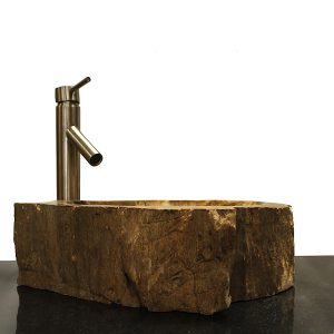 Basin Vessel Sink for Bathroom Counter Top In Petrified Wood PWS24