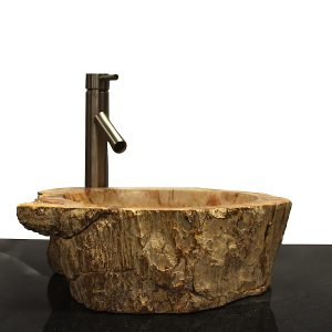Basin Vessel Sink for Bathroom Counter Top In Petrified Wood PWS9