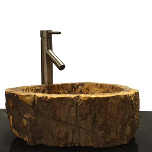 Basin Vessel Sink for Bathroom Counter Top In Petrified Wood PWS8
