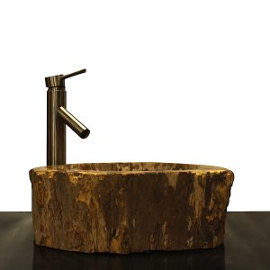Basin Vessel Sink for Bathroom Counter Top In Petrified Wood PWS18