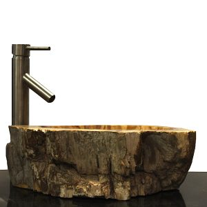 Basin Vessel Sink for Bathroom Counter Top In Petrified Wood PWS4