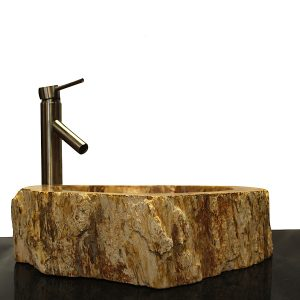 Basin Vessel Sink for Bathroom Counter Top In Petrified Wood PWS17