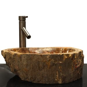 Basin Vessel Sink for Bathroom Counter Top In Petrified Wood PWS12