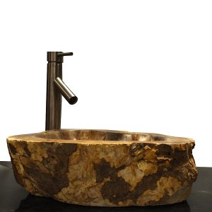 Basin Vessel Sink for Bathroom Counter Top In Petrified Wood PWS11