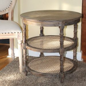 Round Wood and Cane End or Side Table Three Tier Old Country Farm Painted Finish
