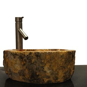 Basin Vessel Sink for Bathroom Counter Top In Petrified Wood PWS16