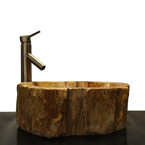 Basin Vessel Sink for Bathroom Counter Top In Petrified Wood PWS19