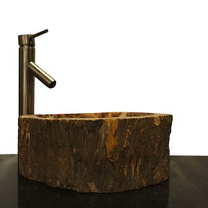 Basin Vessel Sink for Bathroom Counter Top In Petrified Wood PWS22