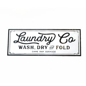 Laundry Vintage Style Sign Wash Dry Fold old Business Replica Ceramic Tin 36″