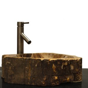 Basin Vessel Sink for Bathroom Counter Top In Petrified Wood PWS10