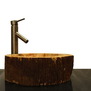 Basin Vessel Sink for Bathroom Counter Top In Petrified Wood PWS21