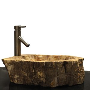 Basin Vessel Sink for Bathroom Counter Top In Petrified Wood PWS15