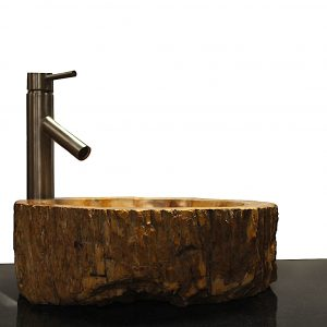 Basin Vessel Sink for Bathroom Counter Top In Petrified Wood PWS14