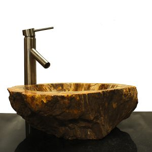 Basin Vessel Sink for Bathroom Counter Top In Petrified Wood PWS20