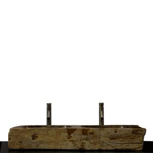 Double Basin Vessel Sink for Bathroom Counter Top In Petrified Wood DPS14