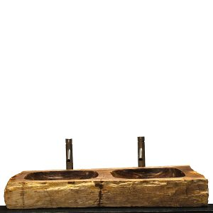 Double Basin Vessel Sink for Bathroom Counter Top In Petrified Wood DPS6