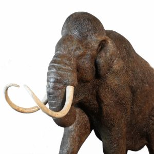 Wolly Mammoth Prehistoric Statue with Tusks Diminutive 27 Inches Long Sculpture