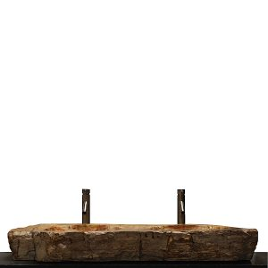 Double Basin Vessel Sink for Bathroom Counter Top In Petrified Wood DPS8