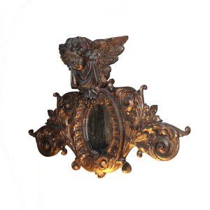 Gold Leaf Angel Cherub Mirror Wall Art Sculpture Stunning Vintage Decor