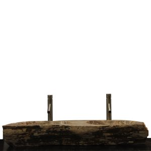 Double Basin Vessel Sink for Bathroom Counter Top In Petrified Wood DPS15