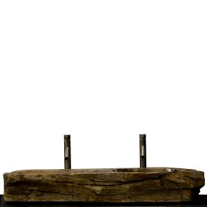 Double Basin Vessel Sink for Bathroom Counter Top In Petrified Wood DPS17