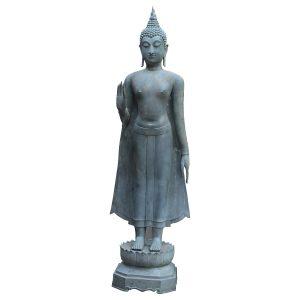 Life Size Buddha Bronze Sculpture with Wonderful Patina Abhaya Mudra