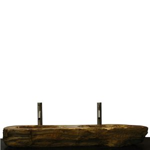 Double Basin Vessel Sink for Bathroom Counter Top In Petrified Wood DPS18