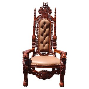 Big Throne Chair Mahogany Lion King Queen Prince Princess Faux Leather