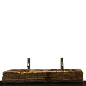 Double Basin Vessel Sink for Bathroom Counter Top In Petrified Wood DPS12