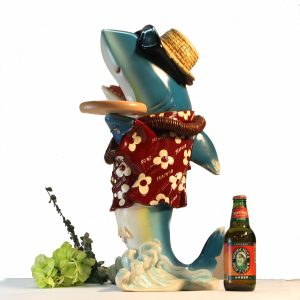 Shark Butler Waiter 2 Ft Statue with Tray Old Gold Tie Kitchen Pub Bar