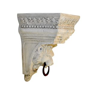 Corbel Bracket Shelf with Lion Face – Ring Hanging or Swag Drapery Faux Stone