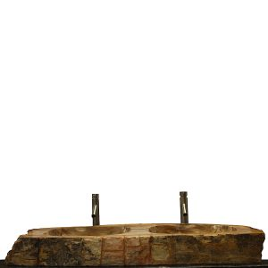 Double Basin Vessel Sink for Bathroom Counter Top In Petrified Wood DPS11