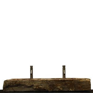 Double Basin Vessel Sink for Bathroom Counter Top In Petrified Wood DPS13