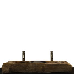 Double Basin Vessel Sink for Bathroom Counter Top In Petrified Wood DPS10