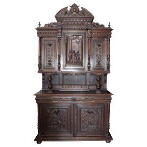 Antique Walnut Coronation Buffet Court Cupboard Circa 1850 Cabinet