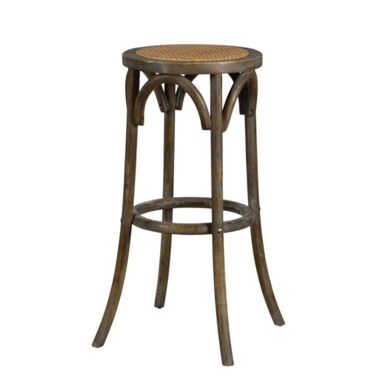 Backless Bar Stool Country Style Wood And Rattan Construction Tavern Pub Seating