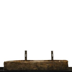 Double Basin Vessel Sink for Bathroom Counter Top In Petrified Wood DPS9