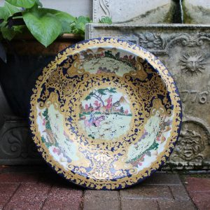 Antique Chinese Famille Charger With European Hunting Scene Qianlong Period