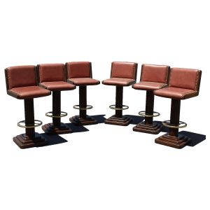 Six Vintage Bar Stools in Leather Oak and Brass with Brass Foot Rest