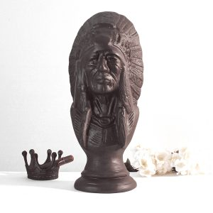 Cigar Store Indian Bust in Bronze Painted Finish Vintage Style for Aficionados