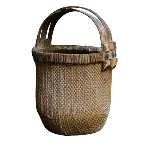 Chinese Basket with Old Asian Coins Holding Together Antique