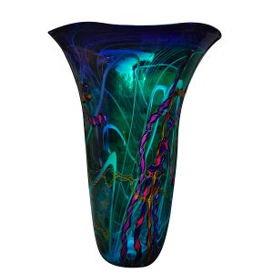 Hand Blown Vase with Color Splatter Design Asymmetrical Blue Art Glass Vessel