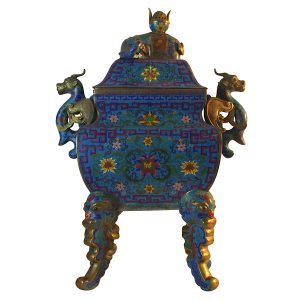 Dragon Motif Cloisonné Censer with Lid Floral Pattern Ming Dynasty Replica