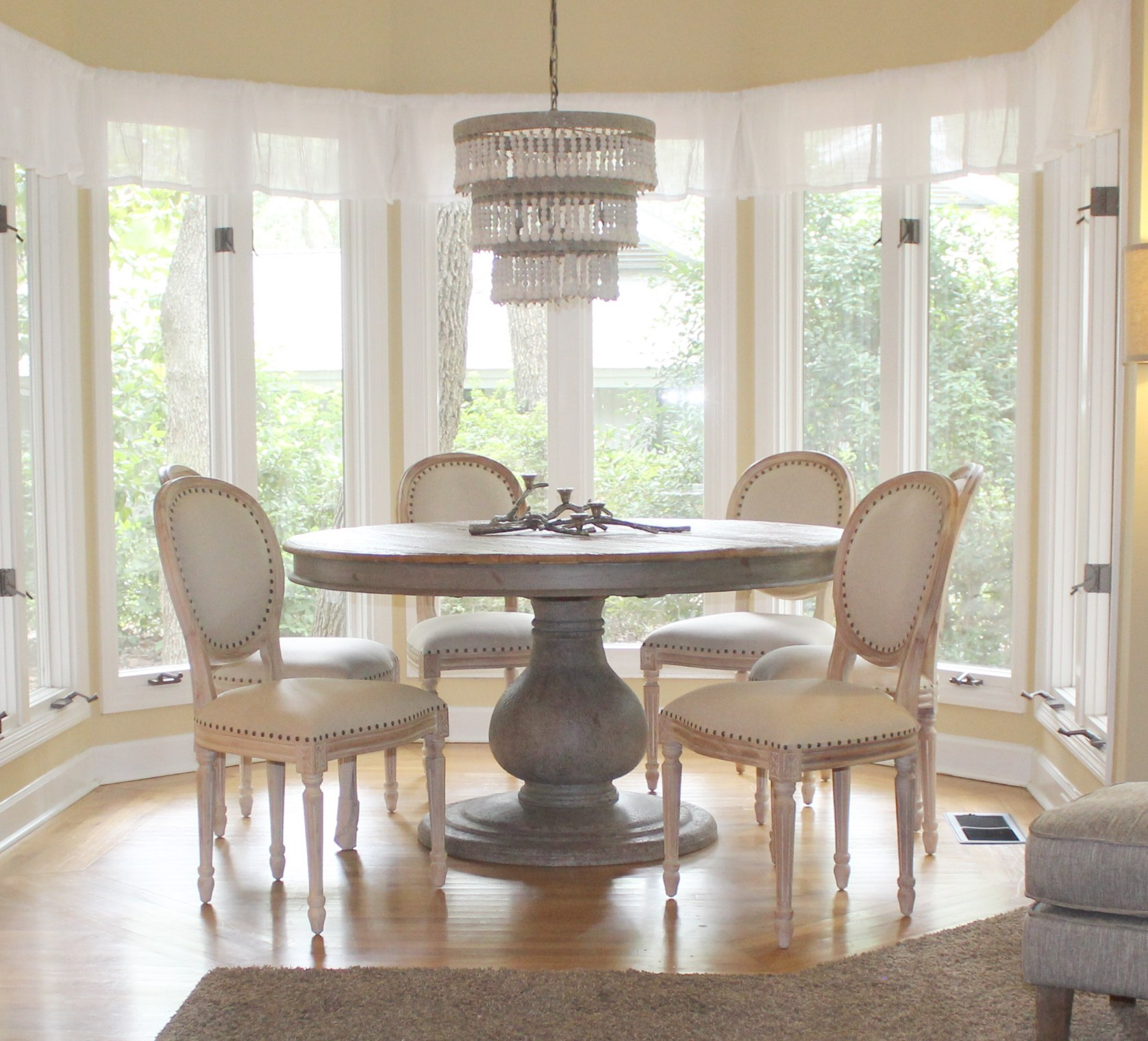 197a97983125e Set of Six Dining Room Aged White Wash Chairs with Fabric Seat Wholesale  Priced