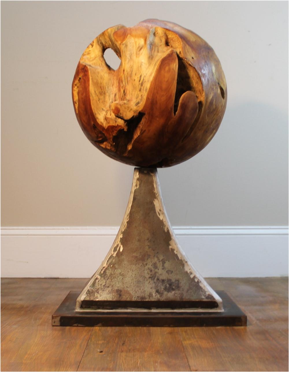 Round Globe Teak Root Ball On Iron Pedestal Designer Ball Aesthetic Statement